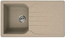 Waschbecken Granit Spüle 1 Becke / Serie VENICE 400 / italienische Qualitätsmarke ELLECI / Einbeckenspüle passend für Unterschränke ab 45 cm Breite / Material GRANITEK / Farbe AVENA / SAND / BEIGE / WEISS CREME MADE IN ITALY