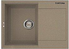 Waschbecken Granit Spüle 1 Becke / Serie YTALO 790 /Drehexcenter / leichte Reinigung durch prismatischer Eckenformung / italienische Qualitätsmarke ELLECI / Einbeckenspüle passend für Unterschränke ab 50 cm Breite / Material GRANITEK / Farbe TORTORA / HELL BRAUN / FARBAUSWAHL / MADE IN ITALY