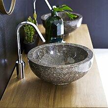 Waschbecken grau Aufsatzwaschbecken aus Marmor 35 cm