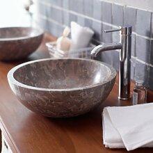 Waschbecken Marmor Hemisphere über Zähler Badezimmer Washbowl poliert, grau