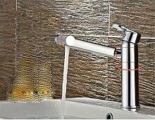 Waschbecken mit warmen und kalten Einloch Kupfer rotation Mixer desktop Waschbecken Mischbatterie, Normal, der Mixer