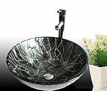 Waschbecken, Rund Waschbecken aus Sekuritglas