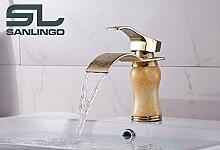 Waschbecken Waschtisch Einhebel Marmor Armatur Wasserhahn Gold Sanlingo