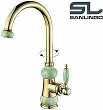 Waschbecken Waschtisch Waschschale Einhebelmischer Marmor Armatur Wasserhahn Gold Schwenkbar Sanlingo