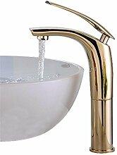 Waschbecken Wasserhahn Chrom Waschraum Einhand-Waschtisch-Mischbatterie Einloch Hot und Cold Sink Taps Garderobe Mono Hebel Wasserhahn High-Gold , gold