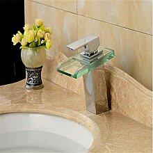 Waschbecken Wasserhahn LED-Licht Glas Wasserfall
