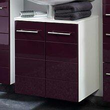 Waschbeckenschrank in Aubergine Hochglanz modern