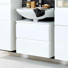 Waschbeckenschrank in Hochglanz Weiß 60 cm