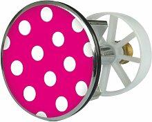Waschbeckenstöpsel Design Pünktchen rosa | Abfluss-Stopfen aus Metall | Excenterstopfen | 38 – 40 mm