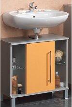 Waschbeckenunterschrank 1 Tür 'Elba', Badschrank Alu / orange