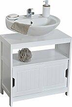 Waschbeckenunterschrank - 2 Schiebetüren + 1 Ablage + Kastenfach - moderner Stil - Farbe WEIß