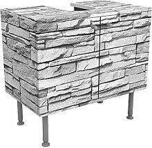 Waschbeckenunterschrank Ashlar Masonry 60x55x35cm Mauer Steine Felsen Wand Grau, schmal, 60cm breit, höhenverstellbar, Design Waschbeckenschrank, Waschtisch, Waschtischunterschrank, Badschrank, Größe: 55cm x 60cm