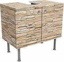 Waschbeckenunterschrank Asian Stonewall - Große helle Steinmauer aus wohnlichen Steinen 60x55x35cm, schmal, 60cm breit, höhenverstellbar, Design Waschbeckenschrank, Waschtisch, Waschtischunterschrank, Badschrank, Größe: 55cm x 60cm
