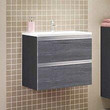 Waschbeckenunterschrank in Eiche Grau Optik 60 cm