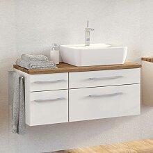Waschbeckenunterschrank in Weiß und Wildeiche
