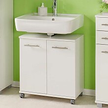 Waschbeckenunterschrank mit Rollen Weiß