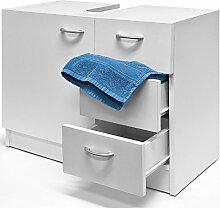 Waschbeckenunterschrank Waschtischunterschrank Unterschrank Badschrank 3 Schubladen weiß