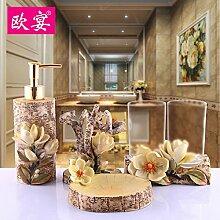 Waschen Sie die pastorale Einfachheit wc Badezimmer Set Hochzeit innovative Harz Bad mit fünf Stück Abdeckung