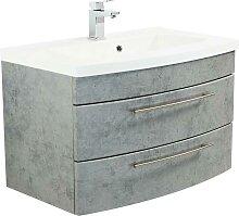 Waschkommode in Beton Grau zwei Schubladen