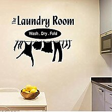 Waschküche waschen Trockenmauer Aufkleber Kunst