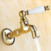 Waschmaschine Wasserhahn Gold Kupfer MOP der Pool Wasserhahn vergoldet in die Wand eines einzigen kalten Mixer, B