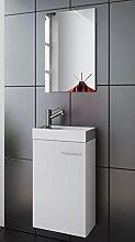Waschplatz | Badmöbel Set | Waschtisch | Keramik Waschbecken | Spiegel | Gäste WC | Bologna | weiß