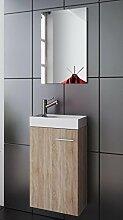 Waschplatz | Badmöbel Set | Waschtisch | Keramik Waschbecken | Spiegel | Gäste WC | Bologna | Eiche sägerau