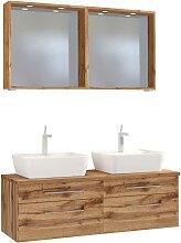 Waschplatz Set mit Doppelwachtisch 2 LED Spiegeln