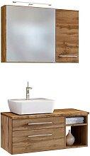 Waschplatz Set mit Spiegelschrank Wildeiche Dekor