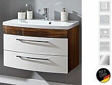 """Waschplatz Waschtisch Badezimmerschrank Waschbecken Unterschrank Bad """"Rima I"""" (Walnuss/weiß-Hochglanz/Walnuss-Hochglanz)"""