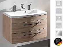 """Waschplatz Waschtisch Badezimmerschrank Waschbecken Unterschrank Bad """"Rima I"""" (Sonoma-Eiche)"""
