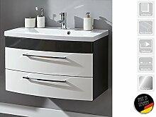 """Waschplatz Waschtisch Badezimmerschrank Waschbecken Unterschrank Bad """"Rima I"""" (anthrazit/weiß-Hochglanz/anthrazit-Hochglanz)"""