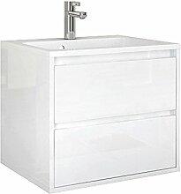 Waschplatzset Opera 60, 2-teilig, Waschbecken und Unterschrank, Front und Korpus weiß glänzend
