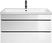 Waschschrank in Hochglanz Weiß 60 cm hoch