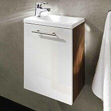 Waschtisch in Weiß Hochglanz Walnuss Gäste WC