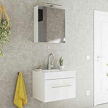Waschtisch und Spiegelschrank in Weiß Hochglanz
