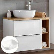 Waschtisch-Unterschrank 80cm mit Keramikbecken