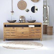 Waschtisch Waschbeckenschrank Badezimmer Unterschrank massiv Holz Teak Badmöbel