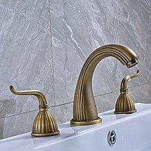 Waschtischarmatur Antique Brass Widespread Dual
