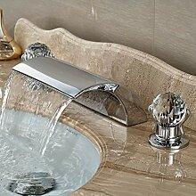 Waschtischarmatur Doppelgriff Wasserfall Badewanne