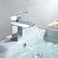 Waschtischarmatur Eckig Waschbecken Waschtisch Armatur Wasserhahn Einhebelmischer Mischbatterie Bad Waschbeckenarmatur Badarmatur Chrom Wasserfall