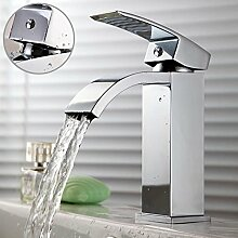 Waschtischarmatur Waschbecken Mixer Mini Kleine Monobloc-Wasserfall Chrom Hebel Squar