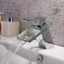 Waschtischarmatur Wasserfall Glasauslauf