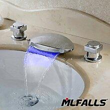 Waschtischarmaturen Neue Ankunft Messing Chrom zwei Griffe 3-Loch Wasserfall Auswurfkrümmer Badezimmer Waschbecken Wasserhahn Led