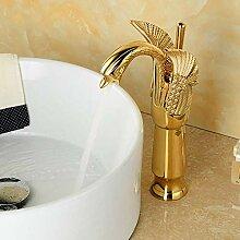Waschtischarmaturen New Design Schwan-Hahn-Gold