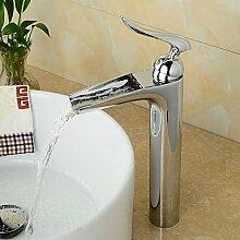 Waschtischarmaturen Zeitgenössische Centerset Wasserfall mit Keramik Ventil einzigen Griff ein Loch für Chrom, Waschbecken Armatur, 58 x 8 cm