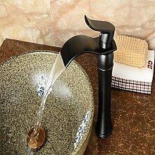 Waschtischarmaturen Zeitgenössische Centerset Wasserfall withCeramic Ventil einzigen Griff ein Loch forOil-rieb Bronze, Badewanne Armatur