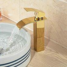 Waschtischarmaturengoldener Messing Wasserfall