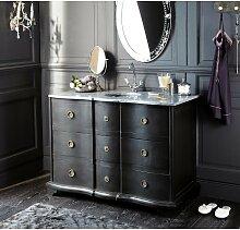 Waschtischmöbel aus schwarzer Mangoholz und Stein