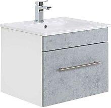Waschtischunterschrank in Weiß und Beton Grau